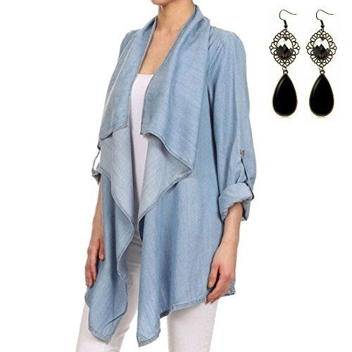 Sitengle Ladies Cardigan Coat Waterfall Denim Jeans Jacket Blazer Long Sleeve Blouse Knee Length Kimono Top  Size Details:  1.Please Kindly check the size chart. (In cm), Asian size is typically smaller than UK size,Please make sure the size fits before ordering!  2.If you can't confirm your size, to avoid size issue, pls feel free to contact us first before bidding!Thank you!    S=UK4-6  Length:70CM, Bust:92CM, Sleeve:59CM, Shoulder:38CM    M=UK8-10  Length:72CM, Bu