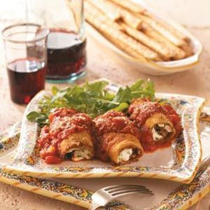 Eggplant Rollatini Recipe -These authentic eggplant roll-ups may take some time to prepare, but the end result is restaurant-quality. Your family will request this recipe time and again. —Nancy Sousley, Lafayette, Indiana