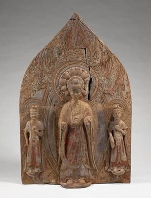 Painted stone standing Buddha with two bodhisattvas  H 138 cm, W at base 90 cm  Northern Wei Dynasty (386-534 A.D.)  From the Qiji Monastery, Qingzhou, Shandong Province  Excavated in 1994  Qingzhou Municipal Museum, Qingzhou
