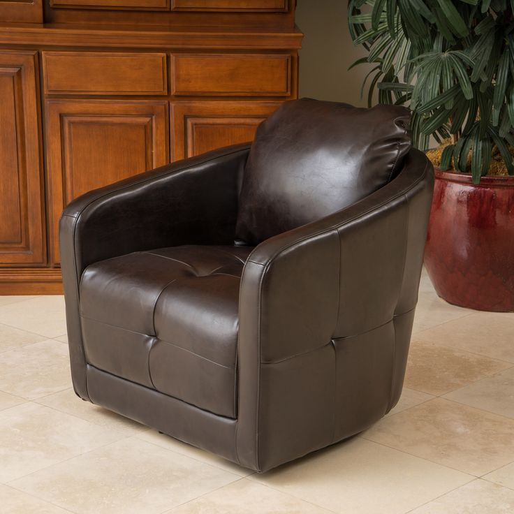 Bernhoft Swivel Brown Leather Armchair