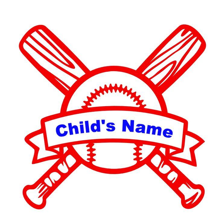 Custom Child's Baseball Name Vinyl Decal Clip art