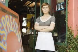 This woman represents a sole proprietorship organizational structure. In definition, sole proprietorship is a business owned by one person. Often, these businesses are also operated by the owner. An example of such businesses, as pictured, is a coffee shop.