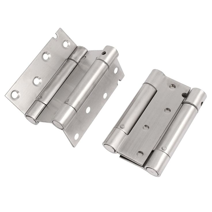Household Door Stainless Steel (Silver) Spring Loaded Hinges 100x63x16mm 2pcs