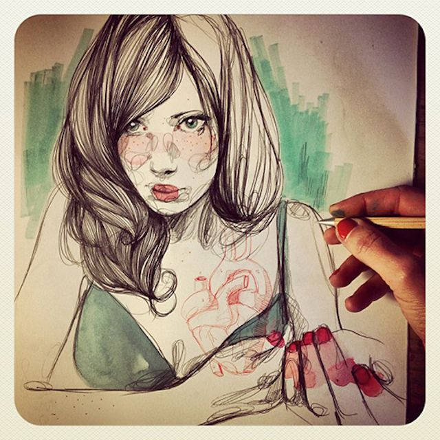 Paula Bonet is an illustrator who creates beautiful drawings on paper and also walls. The artist creates mostly portraits telling us a story, sometimes accompanied by words or sentences written by the artist.