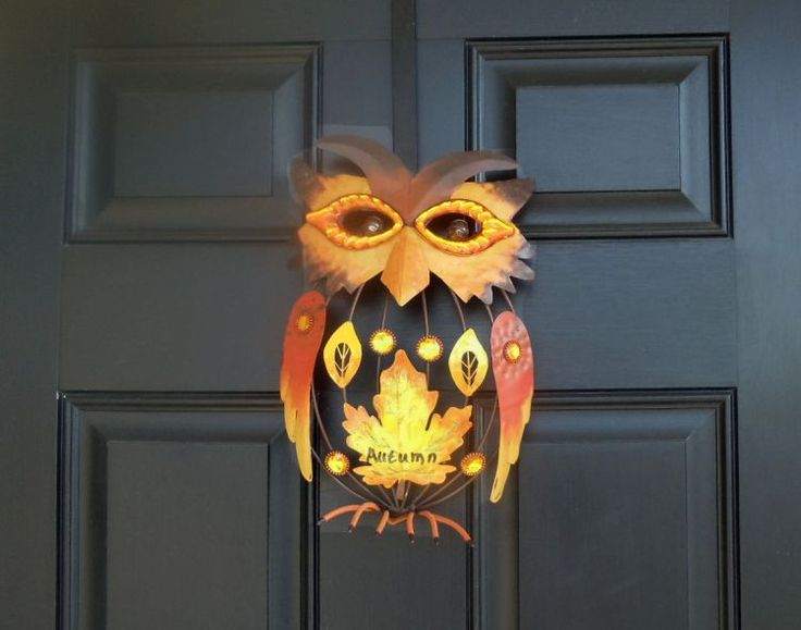 Metal Jeweled Autumn Harvest Owl Fall Home Decor Figurine