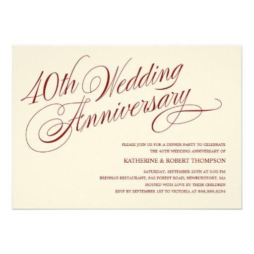 High Quality 40th Wedding Anniversary Invitations