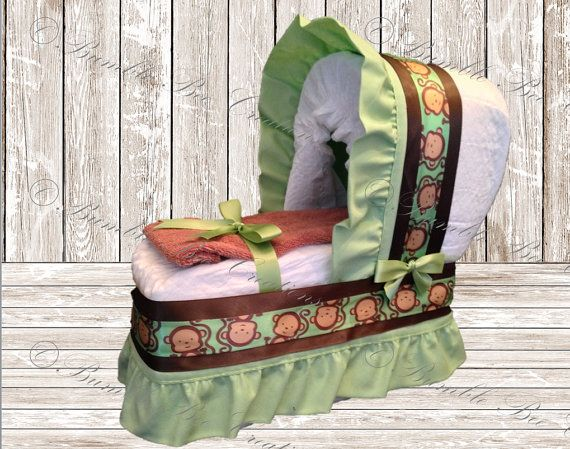 Diaper Bassinet Diaper Carriage Green and Brown Monkey