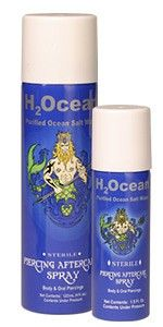 H20cean Piercing Aftercare Spray. It is the only Piercing Aftercare product that contains ingredients that are natural to your body.  The ingredients of H2Ocean Spray are Purified Water, Sea Salt, Lysozyme and Sodium Benzoate which are found in the body's own metabolism. H2Ocean Piercing Aftercare SprayH2Ocean safely removes dried discharge and lymph secretions when used every 3-4 hours on Body Piercings.
