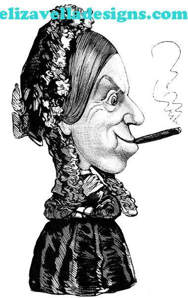 old woman smoking cigar clip art png clipart Digital graphics Printable Images digital stamp vintage art printables