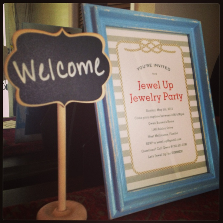 Jewelry Party Display. Welcome. Jewel Up.