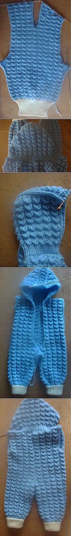 Вяжем комбинезон для малыша спицами - МК   Вязание крючком и спицами