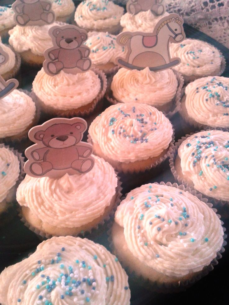 White Baby Shower Cup Cakes