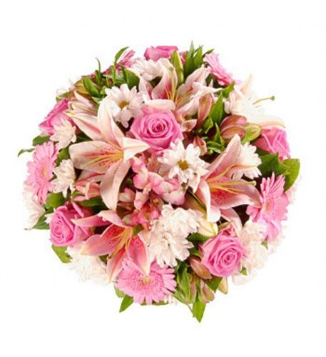 This bright pink arrangement combines beautiful pink oriental lilies, pink roses and pink gerbera and pink alstromeria with white chrysanthemums and assorted foliage to make a stylish floral tribute.