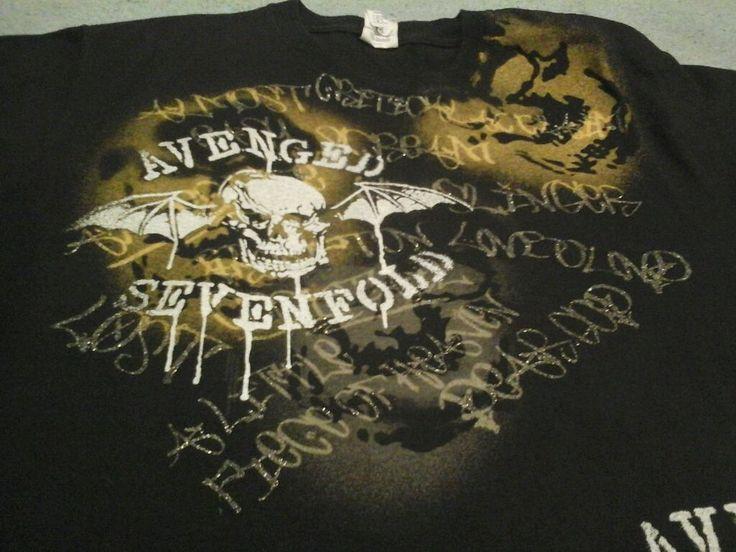 Avenged Sevenfold Glittery Letters Skulls Sz Medium Unisex Concert T Shirt
