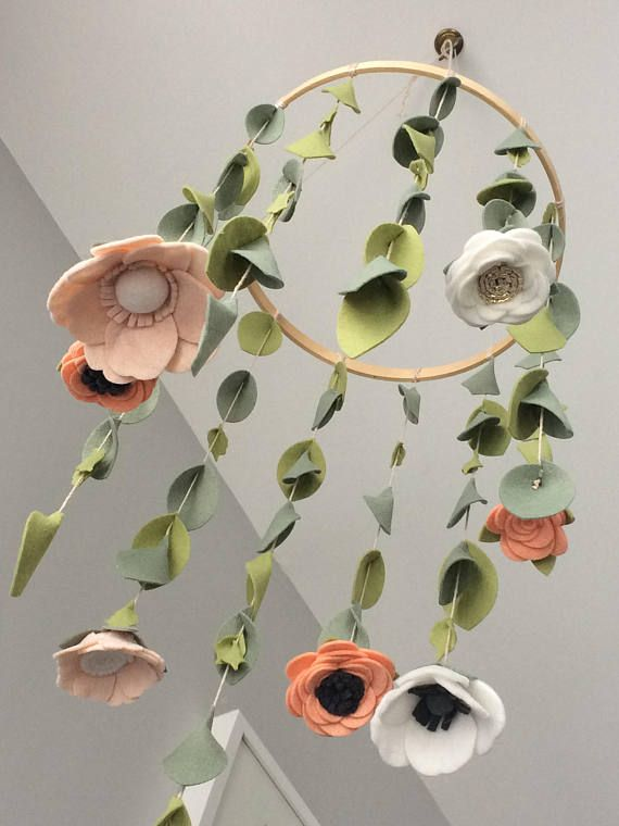 Felt Flower Mobile, Nursery Decor, Baby Girl Nursery, Floral Mobile, Blush Pink Mobile, Baby Gift, Flower Mobile, Bedroom Decor, Sunroom – LOVE * baby
