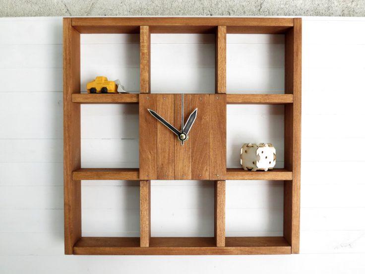 "Wall Shelf ""Raft"", Wall Decor, Reclaimed Wood Shelf, Large Wall Clock, Rustic Shelf, Geometric Book Shelf, Shadow Box Shelf, Rustic Clock by Paladim on Etsy https://www.etsy.com/ca/listing/251854722/wall-shelf-raft-wall-decor-reclaimed"
