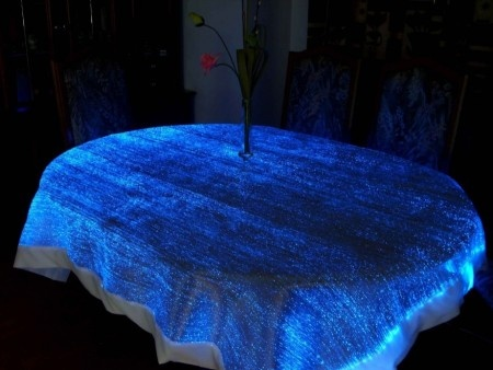 These Fiber Optic Table Cloths Illuminate Beautifully And Create A Very  Distinct Glow When The Lights Are Dimmed.