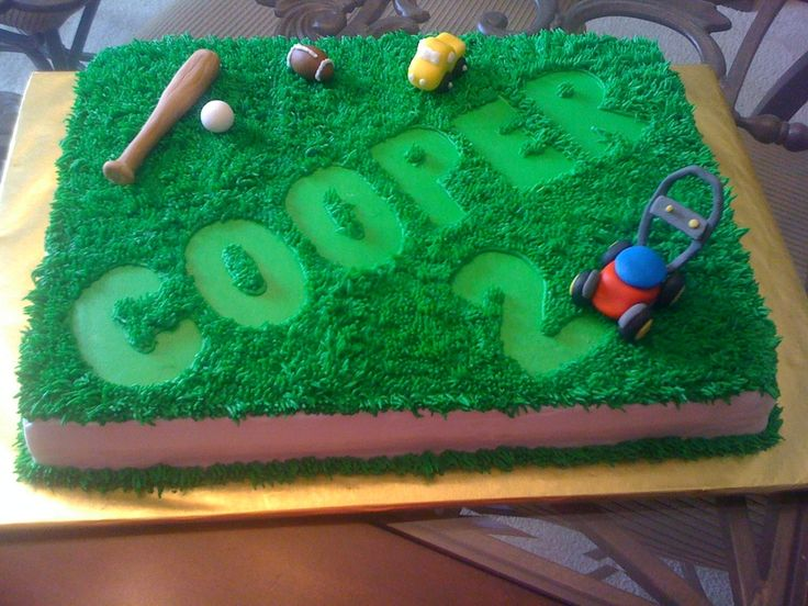 Cake for a friend's 2 year old little boy that is fascinated with lawn mowers and 'cutting the grass'.  The cake was 2 layer french vanilla cake with chocolate mousse filling and buttercream icing.  Toys were made out of fondant.