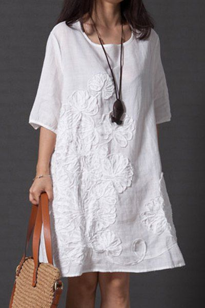 Loose Fitting Round Collar Half Sleeve Dress