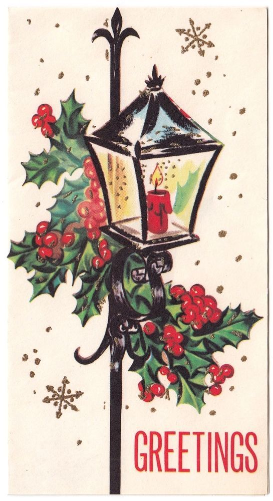 UNUSED Vintage Greeting Card Christmas Iron Lamp Post Candle Mid-Century L31