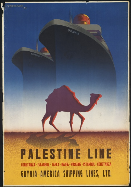 Poster: PALESTINE LINE, GDYNIA-AMERICA SHIPPING LINES    Genre: Travel posters: 1935    Notes: Constanza — Istanbul — Jaffa — Haifa — Piraeus — Istanbul — Constanza.