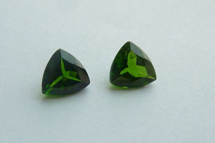 2.11 Cts 100% NATURAL RUSSIAN CHROME DIOPSIDE TRILLION SHAPE LOSSE GEMSTONE PAIR #KinuBabaGems