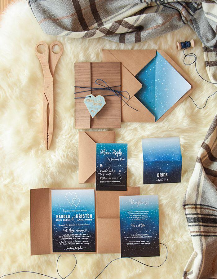 Rustic winter blue ombre starry night wedding invitations #rusticwedding #winterwedding #winterwedding