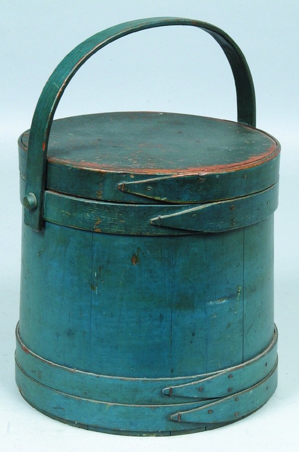 Blue Painted Softwood Covered and Handled Firkin.