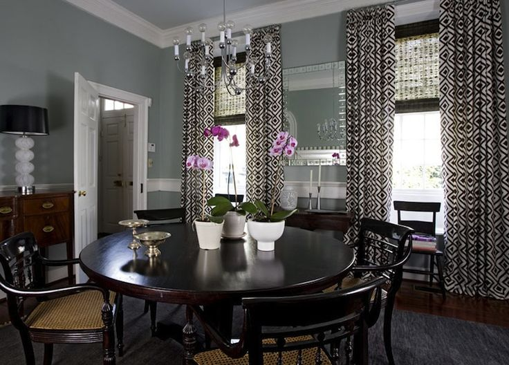Lovely Dining Room With Gray Blue Walls Paint Color Antique Buffet White Glass Lamps Black Shades Pedestal Table Cane Chairs And