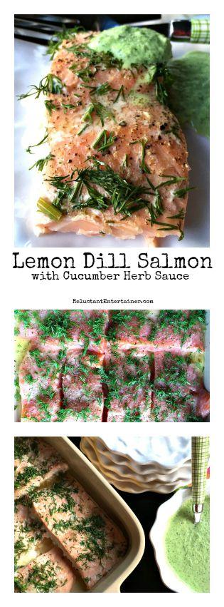 Lemon Dill Salmon wtih Cucumber Herb Sauce at ReluctantEntertainer.com
