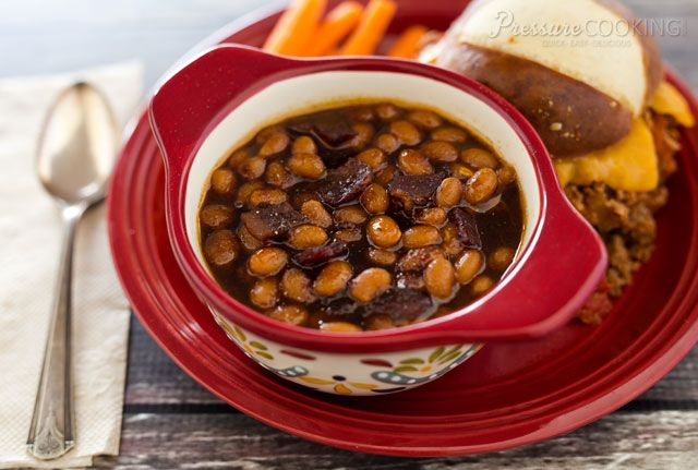 Pressure Cooker Baked Beans Recipe Side Dishes with dried navy beans, water, salt, thick-cut bacon, onions, water, molasses, ketchup, brown sugar, dry mustard, salt, ground black pepper