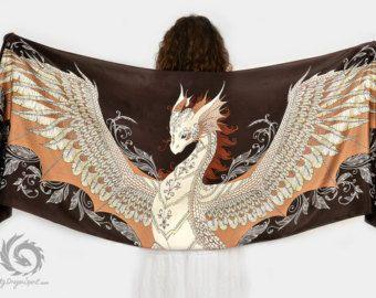 Sciarpa di seta nera con un drago bianco Fenice di MyDragonSpirit