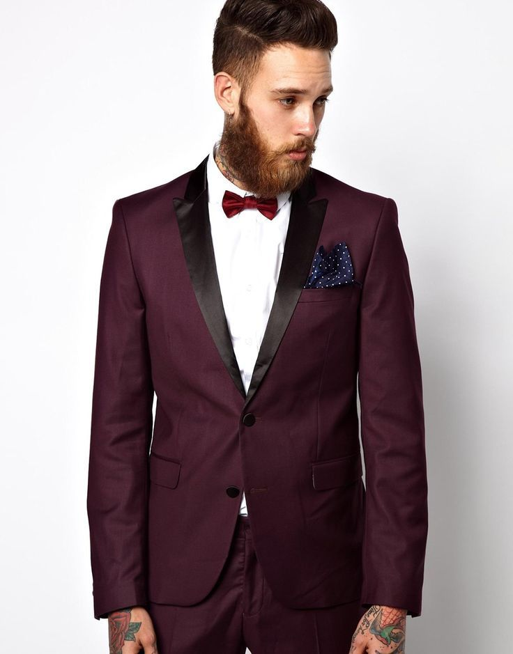 Read More About Selected Tuxedo Suit With Shawl Collar In Plum at asos.com