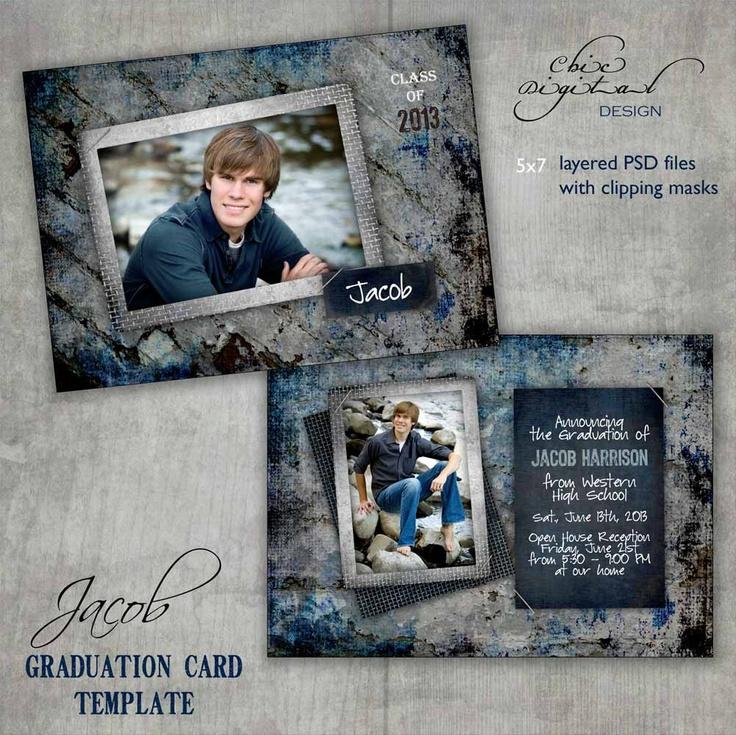 graduation announcement card template - open house invitation for senior guys  girls