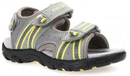 Geox Strada Grey Lime Sandals - Geox Kids Shoes - Little Wanderers
