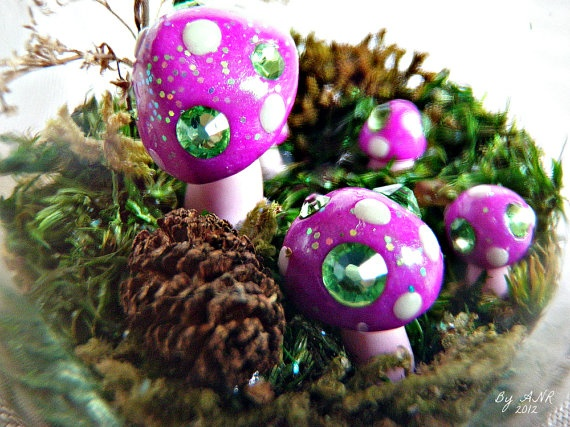 Lexi's Woodland Preserves Faery Ring Edition! Designed, assembled, sculpted with polymer clay & embellished with genuine Swarovski crystals by Amanda Ramey, $45.00