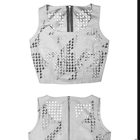Pied de poule cropped top /SS14 collection /  CUTCUUTUR laser cut apparel