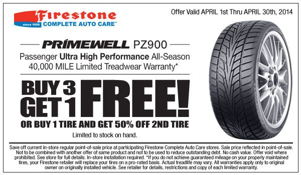 Firestone coupons offer if you buy 3 and get the 4th free or you purchase 1 you can get 50% off second tire now, this offer valid on Firestone complete care.