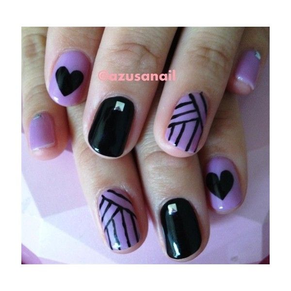 purple and black nail art Nail Art Gallery ❤ liked on Polyvore