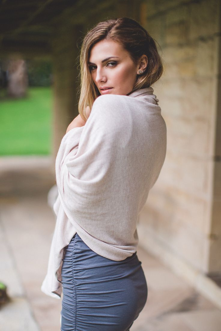 Bamboo Body's ruched dress in Grey is back in Stock!! Teamed here with the travel wrap in oatmeal, made from a blend of Bamboo Cashmere & Wool.
