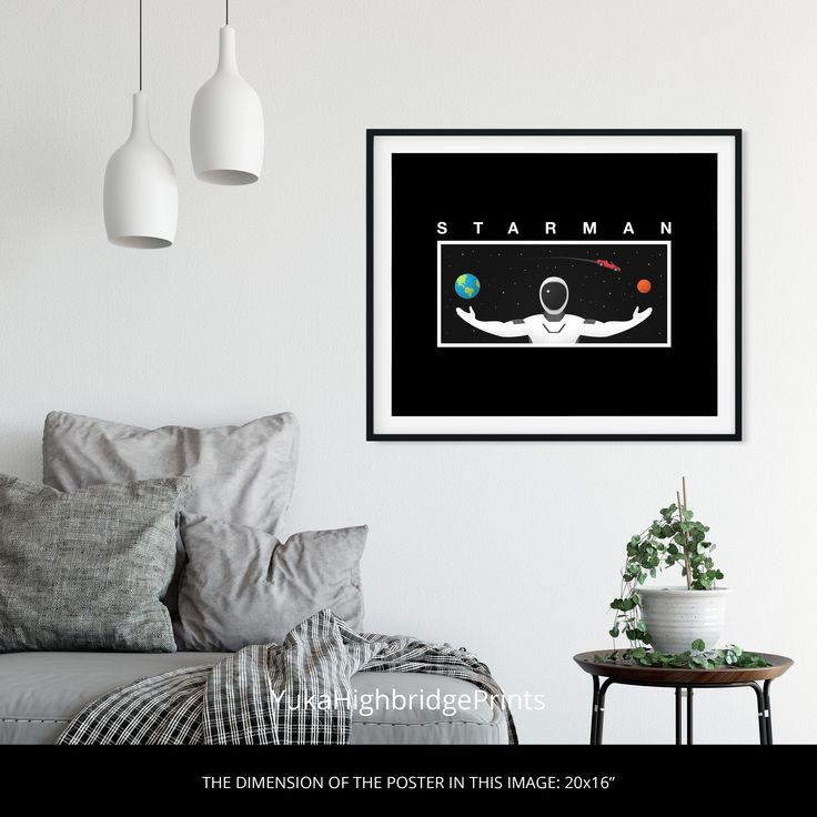 Starman Illustration Poster #starman #elon #musk #space #mars #earth #graphic #design #illustration #inspiration #tesla #interior #black #roadstar  #universe #living #plants #room #house #lights #frame