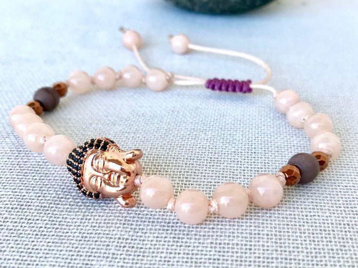 Buddha mala bracelet cream pink jade mala bracelet yoga bracelet meditation bracelet prayer beads mala bracelet grey pink jade howlite mala by Katiaicrafts on Etsy