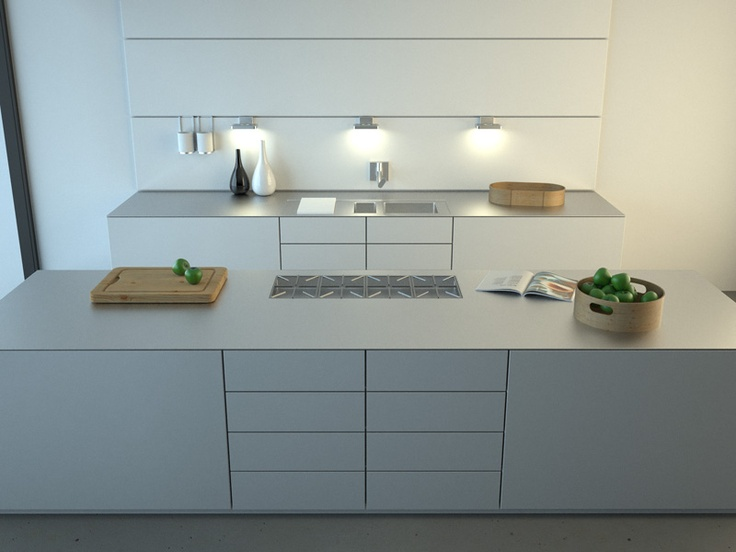Goede opstelling met koken op eiland en wasbak aan de andere kant. bulthaup b3 with the handleless option www.bulthaupsf.com #bulthaup #kitchen #design