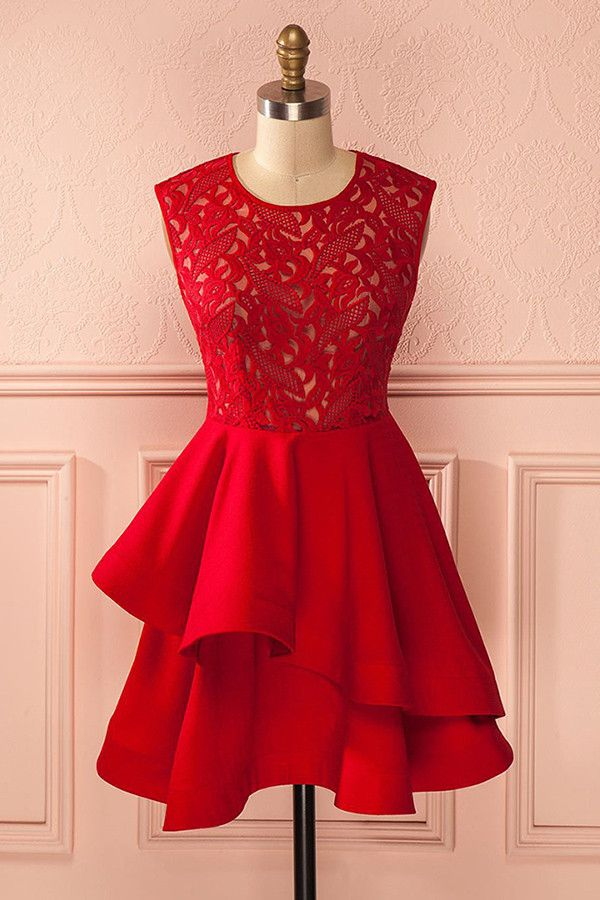 A-Line Crew Sleeveless Red Satin Homecoming Dress With Lace TR0186
