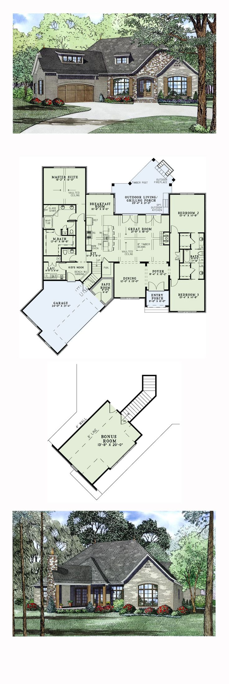 Craftsman House Plan 82166 | Total Living Area: 2408 sq. ft., 3 bedrooms and 2.5 bathrooms. The elegant Great Room features vaulted ceilings with timber beams, a fireplace and a pair of French Doors opening to the Grilling Porch. The Great Room is also open to the Kitchen and the eat-at island bar. #craftsmanhome