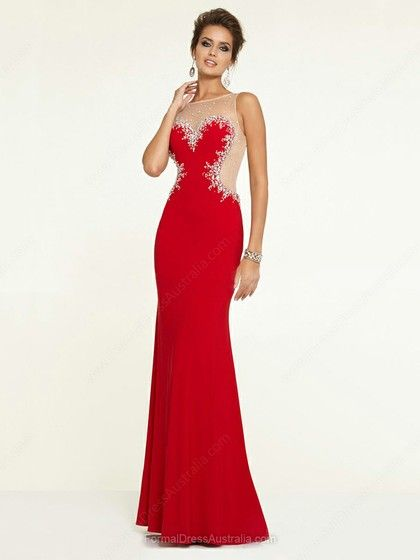 Sheath/Column Silk-like Satin Scoop Neck Beading Floor-length Formal Dresses #Formal02017072