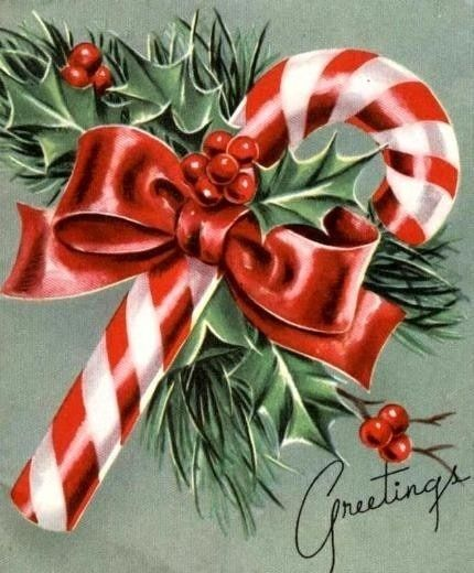 Vintage Christmas card , so very simple and pretty !