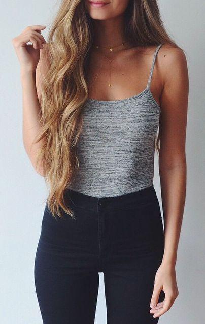grey tank + black jeans