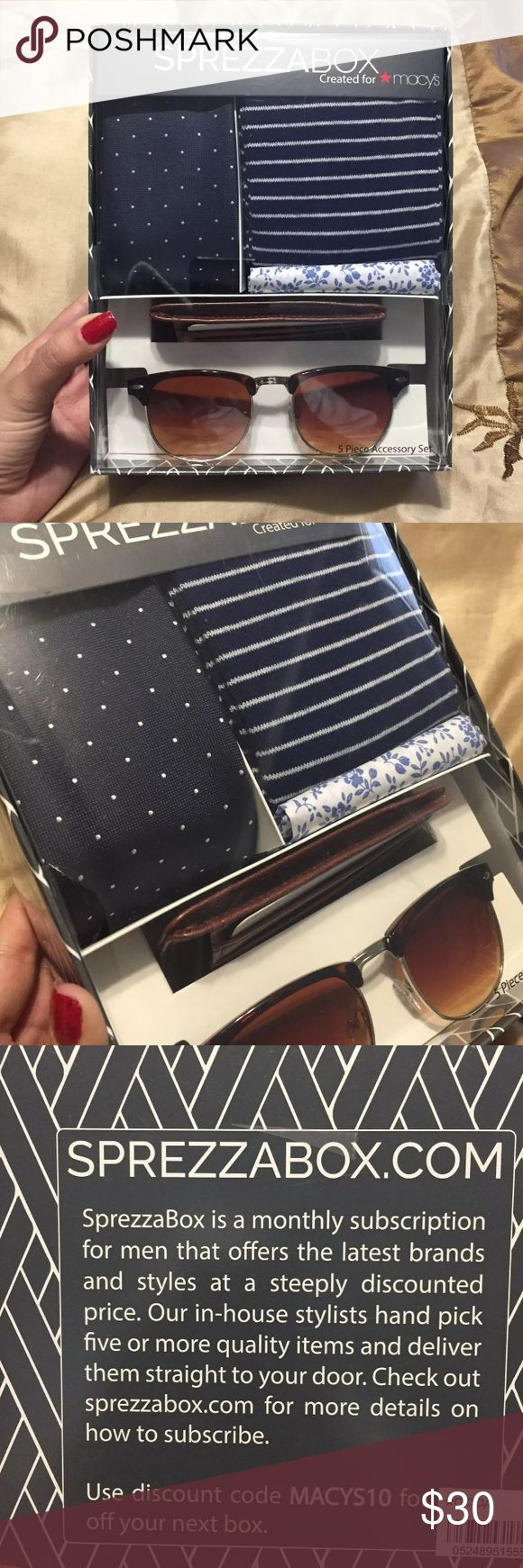 👔Men's 5-Pc Accessory Set!👔 Brand new in box. Sprezza Box created for Macy's. Includes what I believe to be: -tie -socks -pocket square  Wallet/card holder Sunglasses  *FREE TREATS W/ PURCHASE! Macy's Accessories
