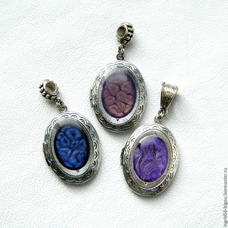 Купить Подвеска кулон медальон для фото открывающийся овальный фиолетовый - фиолетовый, украшения ручной работы